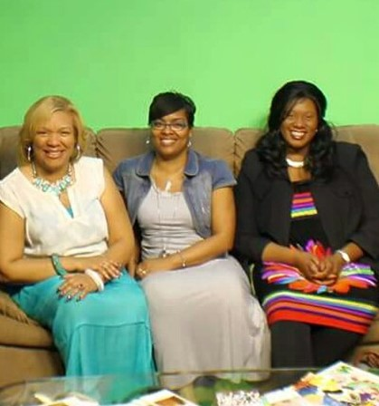 Apostle Patricia Phillips, Evangelist Tijuana Lane, and Dr. Tracy Johnson posing for camera at WCVI - TV 23  studio