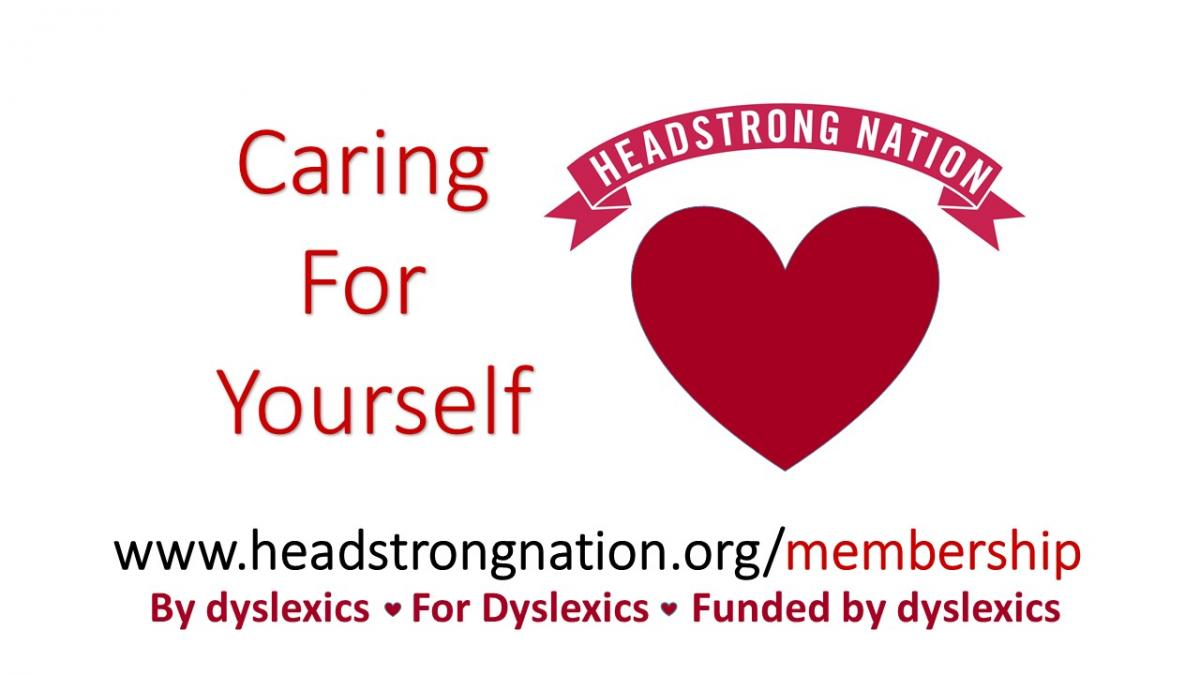 Caring for Yourself Heart photo with Headstrong Nation Banner and www.headstrongnation.org/membership