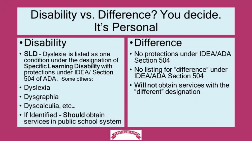 chart showing services you may obtain with disability designation vs. difference designation