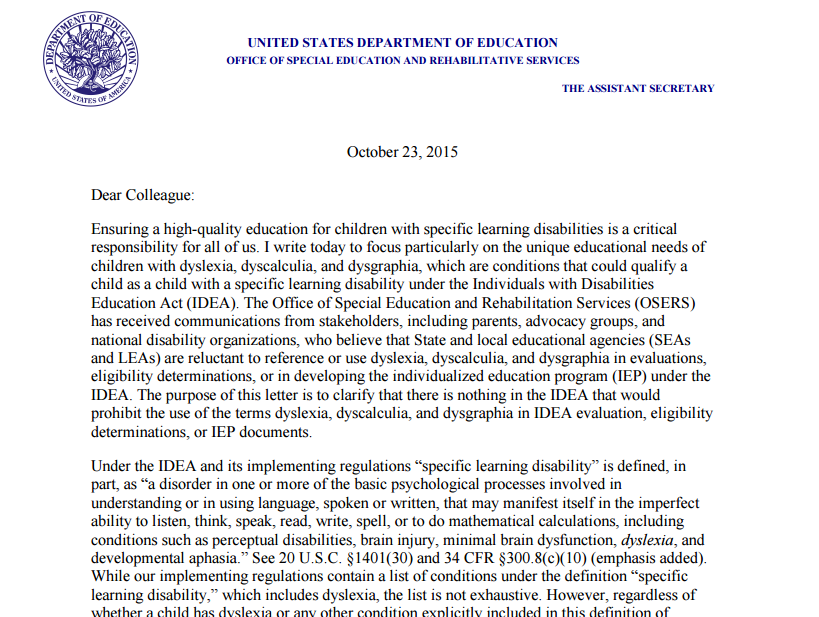 photo of document from US Dept.of Education Assistant Secretary of ED