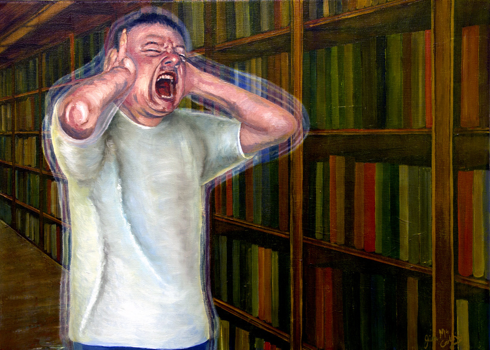 Frustration - Holism Art painting of man covering his ears screaming out in frustration by Artist Jim McCarthy