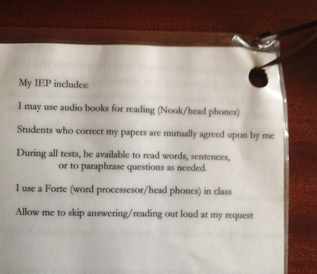 dyslexia card with IEP points