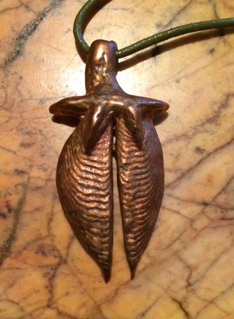 Metal leaf/floral design pendant by Dane F. Jensen