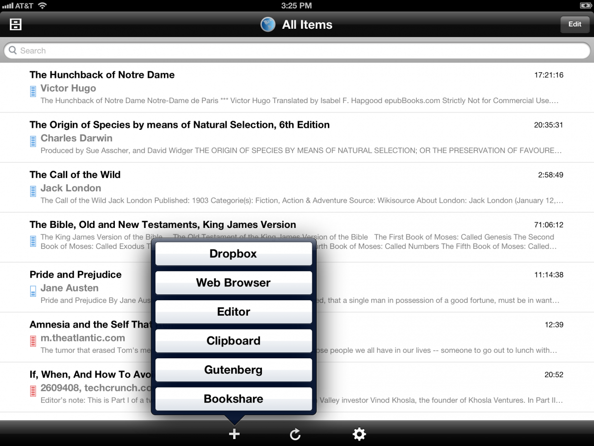 ipad screen shot with voice dream reader listing books loaded on device