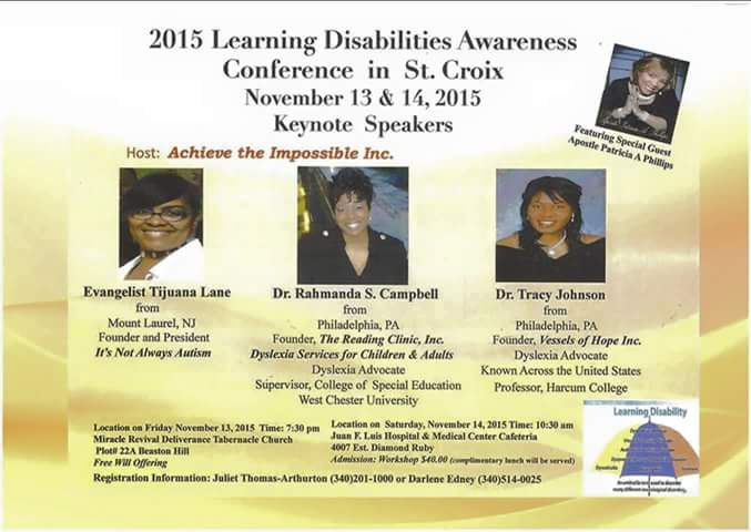 Flyer from Learning Disabilities conference in St Croix Nov 13 and 14 2015