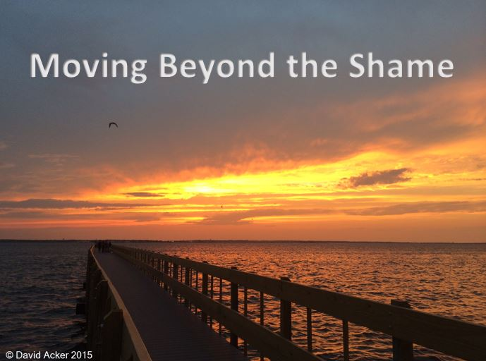 Photo of Sunset with text - Moving Beyond the Shame