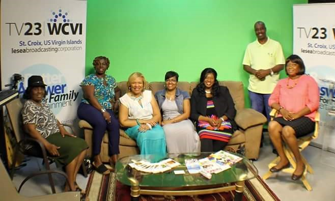 Photo shoot of group at WCVI TV 23 Pastor Virginia Ventura of Miracle Revival Deliverance Tabernacle Church, Ms.Patricia Sage, Apostle Patricia A Phillips, Evangelist Tijuanna Lane, Dr. Tracy Johnson, Mr. Christopher Millette,General Manager of WCVI-TV23 and Mrs. Juliet Thomas-Arthurton. )