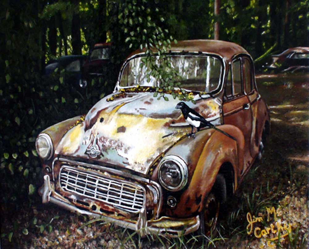 "painting of antique Morris automobile entitled ""Redundant Morris"" by Jim Mccarthy"