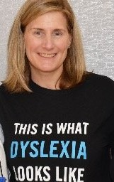 Photo of Nancy J. Hammill Cooper Learning Center With teeshirt which says This is what dyslexia looks like