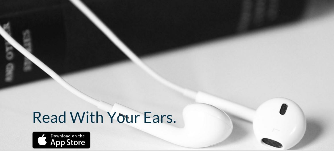 Voice Dream home page - photo of ear buds - text read with your ears - download on app store