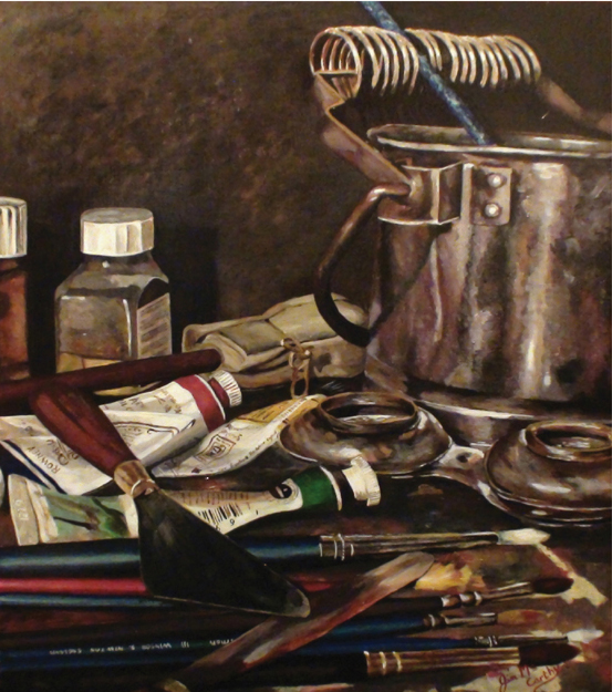 "Painting of Craftsman's Tools on table entitled ""The Craftsman's Tools"" by artist Jim McCarthy"