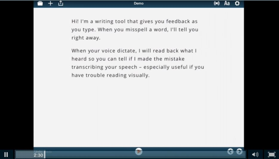 voice dream writer screen shot